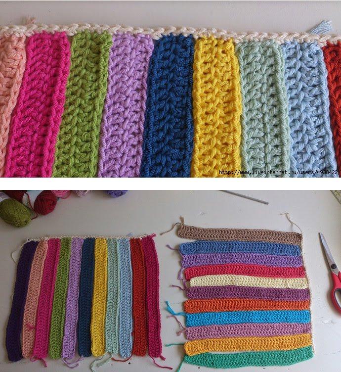 Создание вещей из переплетенных вязаных цветных полосок....